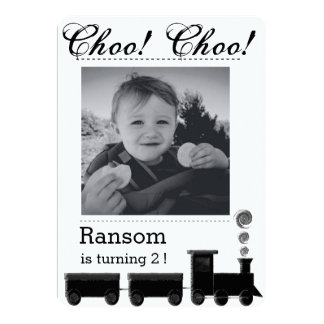Kid's train birthday party invitation. card