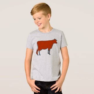 Kid's Tshirt Red Cow Barnyard Farm Animal