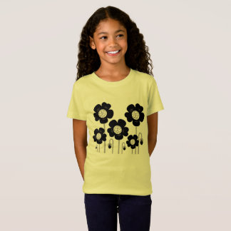 Kids tshirt YELLOW WITH FLOWERS