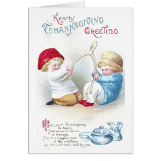 Kids Tug on Giant Wishbone Vintage Thanksgiving Card