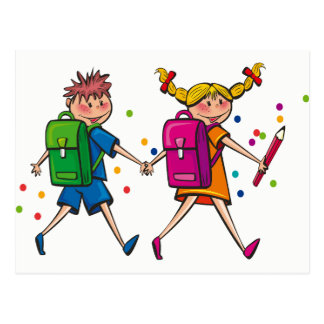 Kids Walking to School Postcard