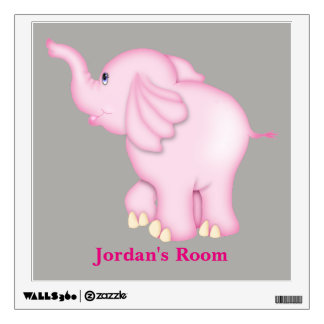 Kid's Wall Decal Cute Pink Baby Elephant