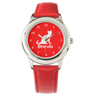 Kid's watch with white cat | Customizable pet name