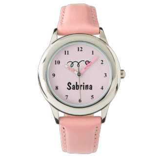 Kid's watches with pink heart and name of child