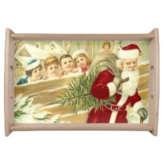 Kids Watching Santa Serving Tray