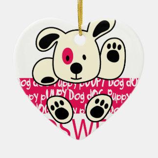 kids wear, baby dog ceramic heart ornament