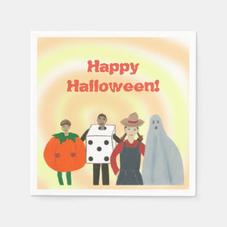 Kids Wearing Costumes Blended Halloween Napkins