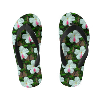 Kids White Hibiscus Wide Straps Black Kid's Flip Flops