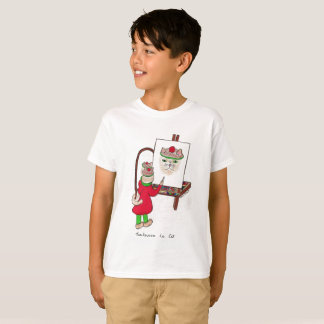 Kid's white t-shirt with cat design.