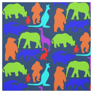 Kids Wild Animals Colorful Bright Cute Fabric