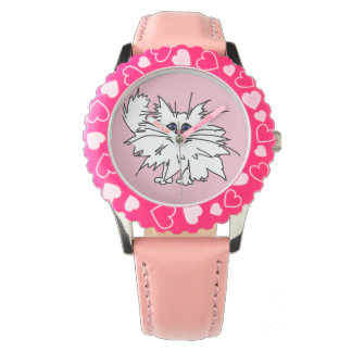 Kids Witty Kitty Pink Hearts Watch