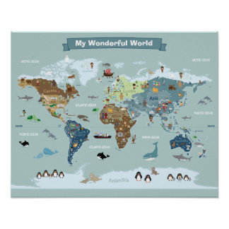 Kids World Map with Animals and Landmarks Poster