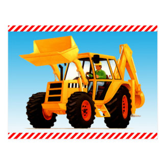 Kid's Yellow Construction Digger Postcard
