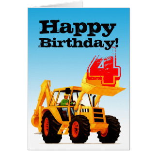 Kid's Yellow Digger Custom 4th Birthday Card