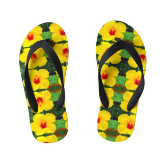 Kids Yellow Hibiscus Sandals