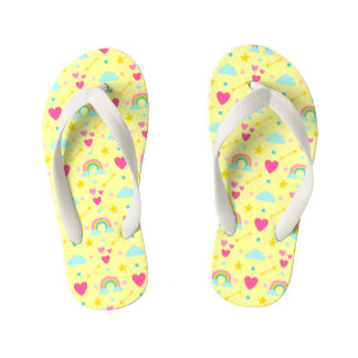Kids Yellow Rainbow Pattern Flip Flops