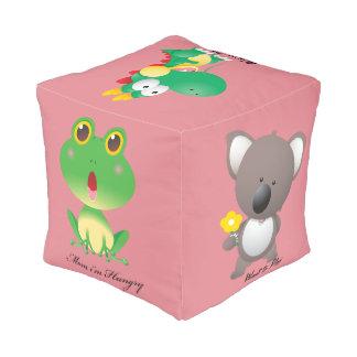 Kids Zoo Animals Sturdy Spun Polyester Cubed Pouf
