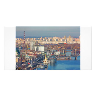 Kiev bussines and industry city landscape on river photo card template