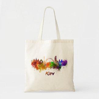 Kiev skyline in watercolor tote bag