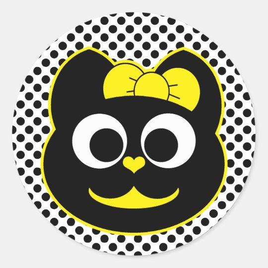 KiKi Kitty Yellow Classic Round Sticker