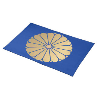 Kiku Chrysanthemum Mon brushed faux gold on blue Placemat