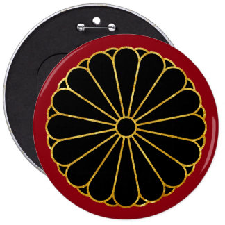 Kiku Chrysanthemum Mon in faux gold on red 6 Inch Round Button