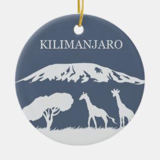 Kilimanjaro (Blue) Round Ceramic Ornament