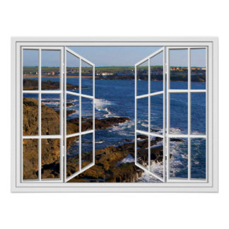 Kilkee Ireland White 24 Pane Open Window Poster