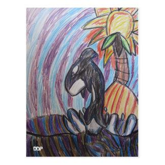 Kill whale art postcard