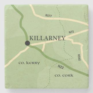 Killarney County Kerry Ireland Road Map Stone Beverage Coaster