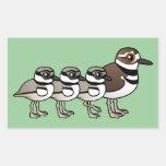 Killdeer & three chicks rectangle stickers