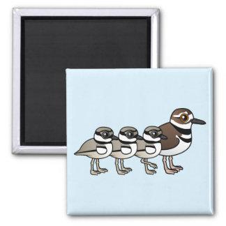 Killdeer & three chicks square magnet