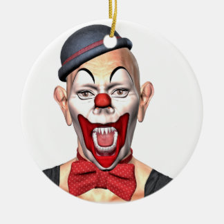 Killer Clown looking to the front Round Ceramic Ornament