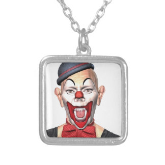 Killer Clown looking to the front Silver Plated Necklace