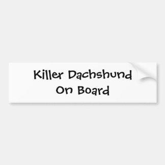 killer dachshund on board bumper sticker