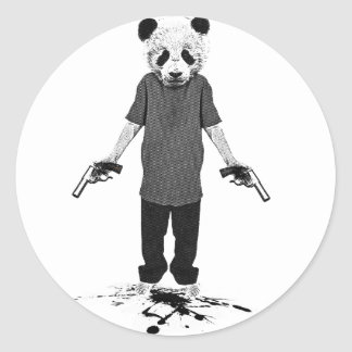 Killer panda round sticker