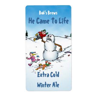 Killer Snowman Funny Beer Labels