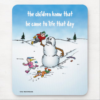 Killer Snowman Funny Cartoon Mouse Pad
