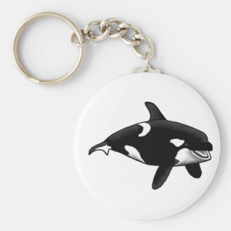 killer whale basic round button keychain