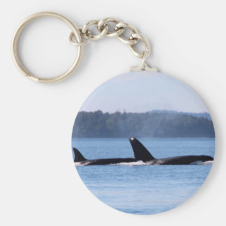 Killer Whale Mother and Son Basic Round Button Keychain