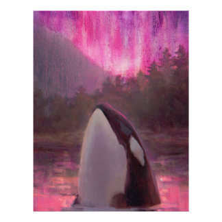 Killer Whale Orca and Pink/Magenta Northern Lights Custom Letterhead
