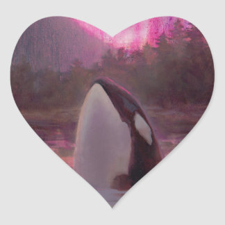 Killer Whale Orca and Pink/Magenta Northern Lights Heart Sticker