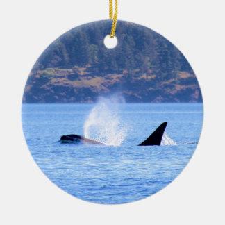 Killer Whale Round Ceramic Ornament