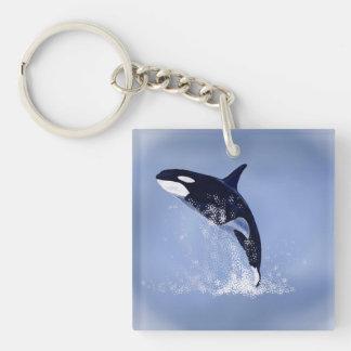 Killer Whale Single-Sided Square Acrylic Keychain