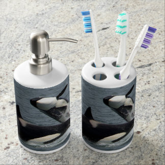 Killer Whale Soap Dispenser And Toothbrush Holder