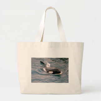 Killer whale swimming large tote bag