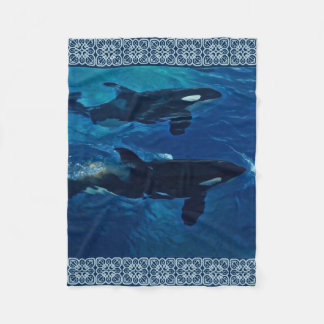 Killer Whales Painting Fleece Blanket