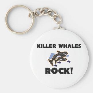 Killer Whales Rock Basic Round Button Keychain