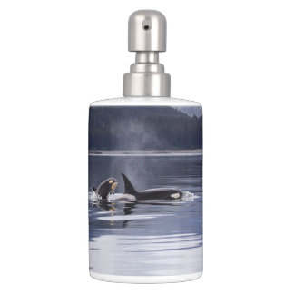 Killer Whales Soap Dispenser And Toothbrush Holder