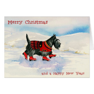 Kilted Scottie Skater Seasons Greetings Card